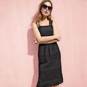 J. Crew Black Tiered Tank Eyelet Dress